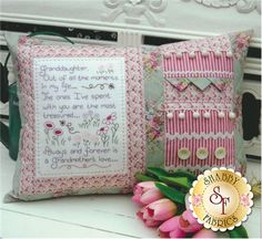The Rivendale Collection - Granddaughter: Currently out of stock! This pattern is due to arrive by the end of April!This lovely pattern is a part of The Rivendale Collection by Sally Giblin. Pattern includes instructions for stitchery, instructions for appliqué, and instructions for cushion. Finished size is 16