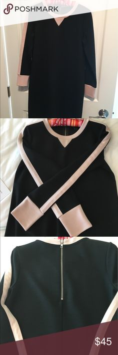 """JCrew black dress. Great condition. Measures 36"""" from shoulder to bottom of dress. 44%wool. Color is black and blush. Sorry no trades. J. Crew Dresses Long Sleeve"""