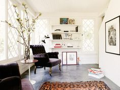A classic home is modernized thanks to its bold paint and comfortable style.