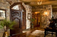 Stone And Timber House Front Design, Pictures, Remodel, Decor and Ideas - page 18 by deanne Cabin Homes, Log Homes, Timber House, Timber Door, Tuscan Decorating, Entry Doors, Front Doors, Wood Doors, Front Entry