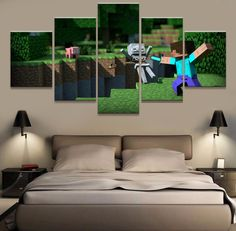 5 Pieces Home Decor Canvas Painting Minecraft Game Poster Wall Art Pictures Canvas Printed Modern Artwork Pictures Wall Decor. Wall Decor Pictures, Decorating With Pictures, Artwork Pictures, Canvas Pictures, Picture Wall Living Room, Living Room Pictures, Painting Minecraft, Canvas Wall Art, Wall Art Prints