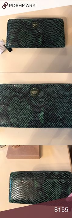 NWT Coach alligator skin effect wallet Brand new coach wallet with tags, green alligator skin effect. Has so many compartments inside to fit everything you could possible need making it able to wear as a clutch ! Also has a pocket on the outer back of the wallet Coach Bags Wallets