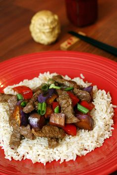 Beef eggplant stir fry ★★★★☆ It's easy and good. I reduce say sauce to 1/4 cup.