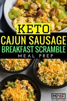 Ketogenic Cajun Sausage Breakfast Scramble Meal Prep - This Cajun Sausage Scramble combines the iconic flavors of Jambalaya into a cheesy egg dish that you can enjoy anytime of day. You will love just how easy keto meal prep can be! #keto #ketorecipes #ketodiet #ketomealprep #ketobreakfast
