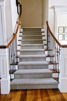 """Riverside Home used Shaw carpet herringbone carpet in """"Atmosphere"""" colorway on the entryway stair runner. Riverside Residence, Riverside House, Stairway Carpet, Carpet Stairs, Wall Carpet, Best Carpet For Stairs, Shaw Rugs, Entryway Stairs, Houses"""