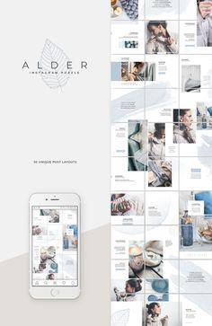 Alder Instagram Puzzle Template by Studio Sumac on @creativemarket