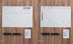 8 Minimalist Planners (2 Styles) by Outline Design on @creativemarket