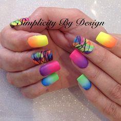 Neon Nail Art, Nail Art Stripes, Floral Nail Art, Neon Nails, School Nail Art, Back To School Nails, Palm Tree Nail Art, Wave Nails, Fruit Nail Art