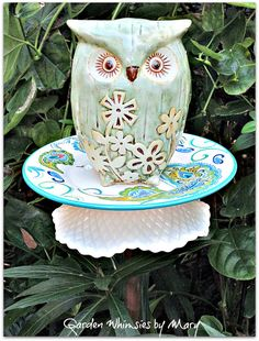 Green Owl Garden Totem Stake As Featured by GardenWhimsiesByMary, $38.00