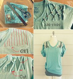 Stud T-shirt - cute to wear over bathing suits this summer.
