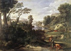 Nicolas Poussin - Landscape with Diogenes 1647. Check out the subtle shifts in the green range. And that middle distance red note!