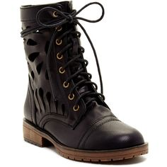 Red Circle Seal Cutout Combat Boot ($35) ❤ liked on Polyvore featuring shoes, boots, black, black lace up boots, red combat boots, red shoes, military boots and black low heel boots