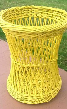 Vintage Wicker Basket Yellow Garbage Can by MakingMidCenturyMod