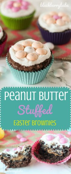 This Peanut Butter Stuffed Easter Brownies dessert is fun for the holiday. It's a candy topped recipe that your family will enjoy.