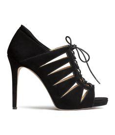 Black lace-up heeled sandals in imitation suede. #HMSHOES