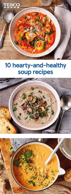 Warm up your winter weeknights with one of these hearty soups. Brimming with flavour and fresh veg these satisfying soups are perfect for filling up and keeping fuelled in chilly weather. Healthy Soup Recipes, Veggie Recipes, Beef Recipes, Vegetarian Recipes, Cooking Recipes, Healthy Lunches For Work, Healthy Eating, Work Lunches, Homemade Soup