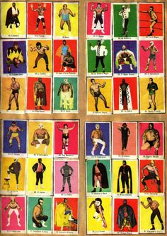 """modernizor: """"WRESTLER'S CARDS / LUCHA LIBRE """" Dear Students, For extra-credit, fold a piece of paper so it makes nine boxes, then pick a quadrant of 9 posing wrestlers in the cards above, and commit. Mexican Wrestler, Wrestling Posters, Loteria Cards, Mexican Mask, Mexican American, You Draw, Chicano, Zine, Folk Art"""