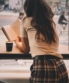 Reading at the cafe