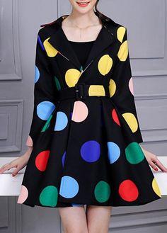 Turndown Collar Dot Print A Line Coat Dress