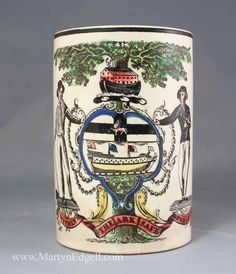 Creamware mug printed with the `Shipwrights Arms`, circa 1800