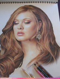 Adele in colored pencil.  This is all sorts of talented.  On a side note: anyone who compares Adele to Alicia Keys is probably mentally challenged. Just sayin