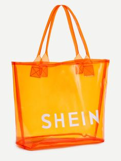 Shop Orange SHEIN Print Clear Beach Tote Bag online. SheIn offers Orange SHEIN Print Clear Beach Tote Bag & more to fit your fashionable needs.