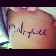 """Schriftzüge als Tattoo Motive sind bei Frauen besonders beliebt. Ob ganze Zitate oder einzelne Wörter: Der Fantasie sind hier keine Grenzen gesetzt. Besonders kreativ wird's, wenn sich der Schriftzug in ein Motiv integriert. Hier sehen wir wie das Wort """"faith"""" in den Pulsschlag eines Herzens einfließt.Weißes Tattoo"""