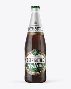 568ml Flint Glass Bottle with Brown Ale Mockup