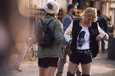 FW14 #Todomoda #BrooklynWinter ▶ Varsity Style + #CoolCats T-Shirt. Models: Paige Reifler, New York Models; Léticia Orchanheski, ONE Models Management.