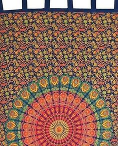 """""Handmade"""" Sanganer Mandala 100% Cotton Tab Top Curtain Drape Panel 44xx88"
