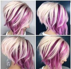 Pink undercolor to cute A-line Bob haircut Pink undercolor Line Bob Haircut, Haircut And Color, Poxie Haircut, Haircut Style, Style Hair, Purple Hair, Ombre Hair, Burgundy Hair, Deep Burgundy