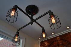 Steampunk Industrial Ceiling Light Industrial by WestNinthVintage
