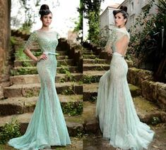 Rami Salamoun 2015 Prom Dresses Mint Green Long Sleeve Backless Pageant Dress Crystal Beading Tulle See Through Belt Evening Gowns Online with $169.64/Piece on Elegantdresses's Store   DHgate.com
