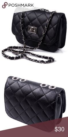 "HDE Quilted Leather Crossbody NWT.  Elegant quilted crossbody purse  Stylish diamond stitching  Detatchable faux leather strap with laced chain link: Shoulder drop 21""  Twist lock protects valuable belongings  Interior zipper pocket: Dimensions: 7.5 x 5.25 x 2.25 in. Bags Crossbody Bags"