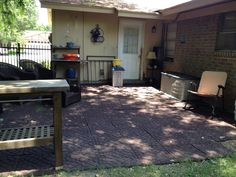 I decided to extend my back patio using recycled rubber tiles awesome so fabulous love it