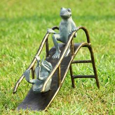 SPI Garden Collection Sliding Frogs Garden Sculpture - ArtsiHome