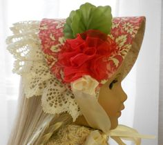 American Girl Doll Clothes - Doll Hat - Daytime Bonnet - A Rose is a Rose. $23.00, via Etsy.