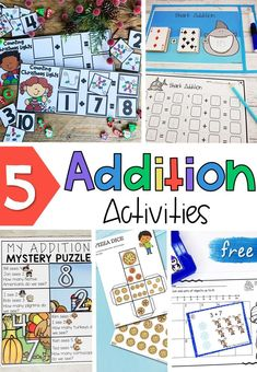 These free addition activities help kids learn sums up to 10 and 20. They're perfect for math centers in kindergarten and first grade. #kindergartenmath #prekmath #firstgrademath #mathcenter #addition #additionactivities #additiongames #kindergarten #firstgrade #homeschool