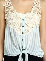 pretty laceish button up tank top1