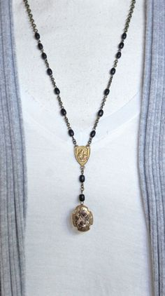 Vintage art deco pendant and vintage rosary bead chain necklace by frenchfeatherdesigns on etsy.