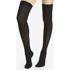 Express Chevron With Contrast Welt Over The Knee Socks ($15) ❤ liked on Polyvore featuring intimates, hosiery, socks, other, black, patterned hosiery, above the knee socks, double layer socks, patterned socks and express socks