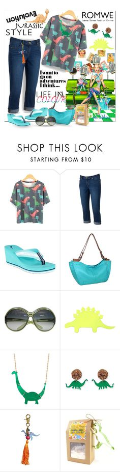 """ROMWE Dinosaur T-Shirt"" by wanda-india-acosta ❤ liked on Polyvore featuring Jennifer Lopez, Nautica, Nino Bossi Handbags, Christian Dior, Forever 21 and Lenora Dame"