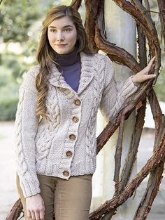 The Boxing Day Cardigan by Premier Yarns has a shawl collar, a button front and gorgeous vertical cables. What a cozy sweater this will be!