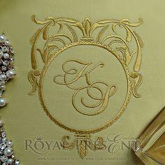 Machine Embroidery Design Gold Classic Blank Monogram