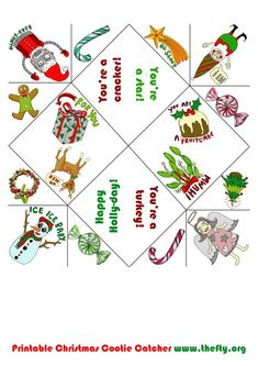 Free, printable Christmas Cootie Catcher by Helena Maratheftis (www.thefty.org) Christmas Gift Games, Christmas Jokes, Holiday Games, Last Christmas, Christmas Crafts For Kids, Christmas Activities, Holiday Crafts, Christmas Worksheets, Christmas Printables