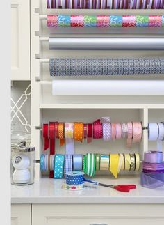 ribbon and wrapping paper storage @Julie martin