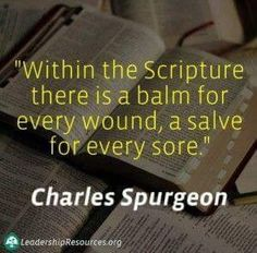 Within the Scripture there is a balm for every wound, a salve for every sore. - Charles H Spurgeon