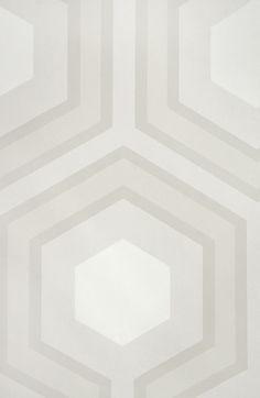 Hicks' Grand Hexagon Wallpaper Large Geometric design wallpaper in Stone and White.