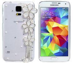 Samsung Galaxy S5 cases for girls, Samsung Galaxy S5 bling bling cases, Check out this Samsung Galaxy S5 Bling Bling Flower Pattern Crystal & Pearl Cover Cute Case for your exquisite device to look highly sophisticated without going beyond your means!