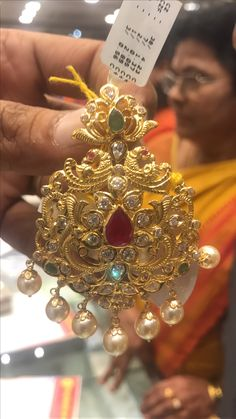 Indian Wedding Jewelry, Bridal Jewelry, Beaded Jewelry, Gold Earrings Designs, Gold Jewellery Design, Gold Pendent, Gold Jewelry Simple, Gold Ornaments, India Jewelry